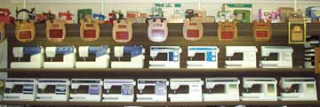 Wall display of    sewing machines